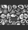 background on chalkboard with hand drawn shellfish vector image vector image