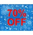 Big winter sale poster with 70 PERCENT OFF text vector image