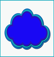 blue cloud three color vector image
