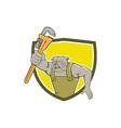 Bulldog Plumber Monkey Wrench Shield Cartoon vector image vector image