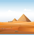 camel caravan in wild africa pyramids landscape vector image vector image