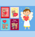 card with teddy and angel valentine day vector image vector image