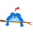 Cartoon blue bird in love vector image vector image