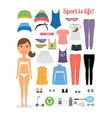 Cartoon Girl with Fitness Clothing and Equipment vector image vector image