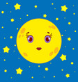 cartoon moon on a background of a night starry sky vector image vector image