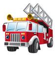 cartoon of fire department truck vector image vector image