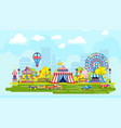 colorful amusement park in city vector image