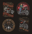 colorful vintage motorcycle prints vector image vector image