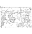 coloring book of girls walk on african savanna vector image