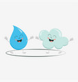 cute cloud and raindrop vector image vector image