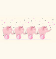cute elephants stick together standing on ball vector image vector image