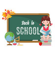 cute girl with chalkboard and school supplies vector image vector image