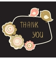Cute Thank You Card with birds couple and flowers vector image