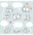 Doodled bespectacled cats set vector image vector image