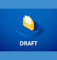 draft isometric icon isolated on color background vector image vector image