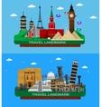 famous world landmarks vector image vector image