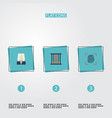 flat icons jail lawyer thumbprint and other vector image vector image
