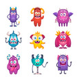 funny cartoon monster set vector image vector image