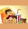 girl eating junk food vector image