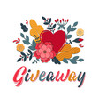 giveaway lettering sign with heart paper cut vector image vector image
