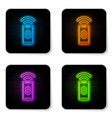 glowing neon contactless payment icon isolated on vector image