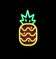 glowing neon light pineapple shape flat vector image vector image