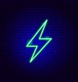 green electric lightning neon sign vector image