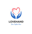 hand and love logo designs vector image vector image