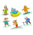 hand drawn kids children doing winter activities vector image vector image