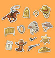 hand drawn wild west cowboy stickers set vector image