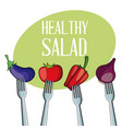 healthy salad vegetables with fork vector image