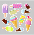 ice cream stickers cute cartoon vector image