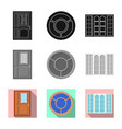 isolated object of door and front symbol set of vector image vector image