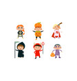 kids in halloween costumes set cute children at vector image
