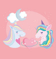 little unicorns clouds moon heart lovely stars vector image vector image