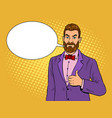 man with beard thumbs up pop art vector image vector image
