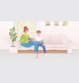 mother with son using laptops happy family vector image vector image