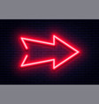 neon arrow sign glowing neon arrow pointer on vector image