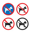 no dogs icon set dog restriction sign vector image vector image