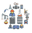 oil industry icons set cartoon style vector image vector image