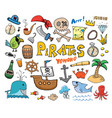 pirate doodles set cute items sketch vector image