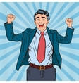 Pop Art Successful Businessman Celebrating vector image vector image