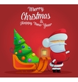 Santa claus with sleigh and christmas tree vector image vector image