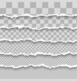 set horizontal seamless torn white paper with vector image