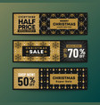 set of gold color theme christmas web banner vector image