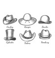 sketch men hats vector image vector image