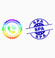 spectrum dot phone call stamp seal icon and vector image vector image