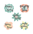 spring time lettering with colorful flowers vector image vector image