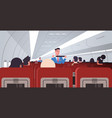steward explaining for passengers how to use seat vector image vector image