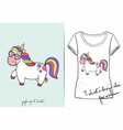 t shirt of cute cartoon walking unicorn vector image vector image